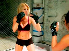 Sporty mix fighter blonde Jessica Drake gets fucked before cat fight