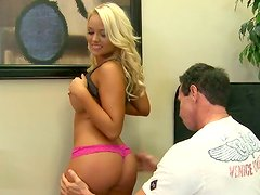 Top notch blonde cutie with curly hair gives great blowjob