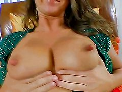 Hot babe shows off her tits and cameltoe before being fucked