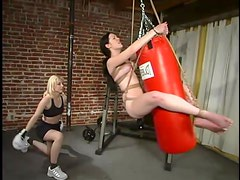 Boxing style BDSM with two naughty babes