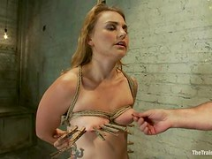 Payton Bell gets her mouth and pussy fucked deep in BDSM clip