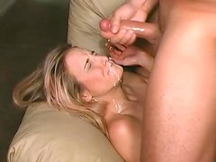 A messy facial for a slutty blonde sucking cock in POV
