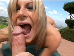 Blonde Courtney Simpson is sucking this dick outdoors