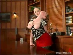 Hot femdom video with office chick getting punished