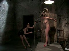 Rope and Toying Action in Lesbian Bondage Video for Sara Scott