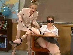 Tied up girl gets toyed hard in a classroom by another girl