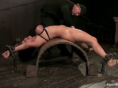 Boob Torture for Busty Claire Dames in Bondage Video