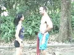 Petite brunette Brenda Lins gets fucked doggy style in the forest