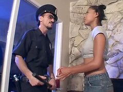 Ebony teen takes a ride on an officer's big cock