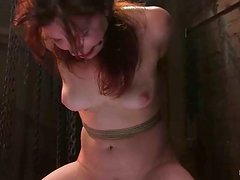Kimberlee Cline gets her vag toyed while hanging in a basement