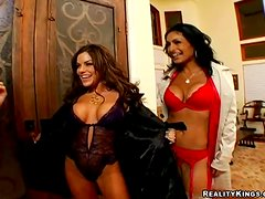MILFS in hot lingerie fuck a big dick in a group sex party.