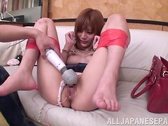 Suzuka Miura gets fucked doggy style after playing with anal beads