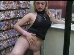 Slim blonde chick gets fucked hard in a video store