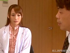 Asian hottie Fuuka Nanasaki gets cum on her tits.