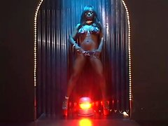 Jada Fire enjoys drilling her black pussy with a toy in a solo clip