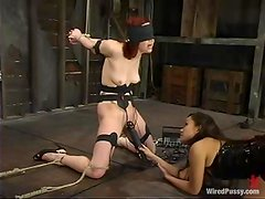Pinky Lee gets her cunt toyed to orgasm in a rough BDSM scene