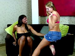 Two curvaceous chicks have interracial lesbian sex