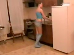 Hot amateur sex in the kitchen
