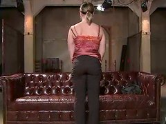 Flexible Lindsey Grant gets her coochie toyed in a bondage scene