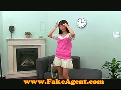 Slim Asian girl toys her pussy and gets rammed at a casting
