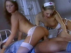 Luscious nurses fuck patient in FFM threesome at the hospital at night