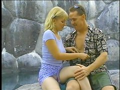 Short Haired Blonde Gets Banged Outdoors in Vintage Clip