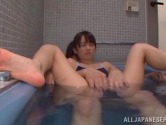 Pretty Asuka Hoshino gives a blowjob in a bathtub