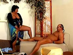 Mature brunette Tracy blows and gets her snatch fucked hard
