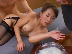 Japanese chick swallows some sperm