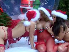 Three tattooed angels are licking shaved pussies