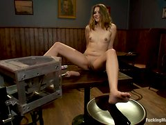 Double dildo machine and a vibrator for Allie Haze