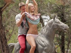 Adorable blonde Anjelica gets her pussy smashed in the garden