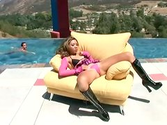 Nasty Keeani Lei gets fucked in both holes by the pool