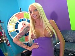 Tattooed blonde Rikki Six blows and gets her skinny pussy drilled hard