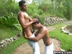 Black gay porn with two horny faggots in the wood