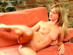 Incredible wondrous blondie teen with sexy body teases on camera