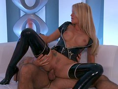 Hard anal sex with blondie in her leather tights