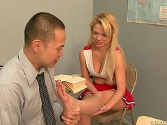 Charity Love bites Eric Jover's cock and gets a facial cumshot