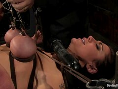 Princess Donna Dolore gets pulled by the nipples and fucked with a toy