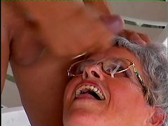 Lewd granny Adele blows and enjoys some naughty banging in the yard