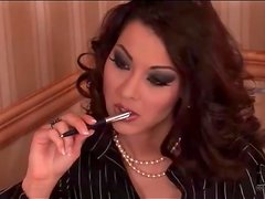 Sexy Cindy Hope smokes in a skirt