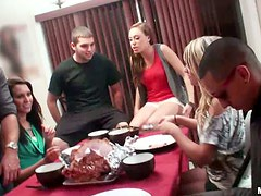 Two hungry girls Allexis and Kierstyn are in group sex