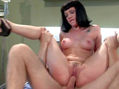 Tall experienced stud Danny Wylde strips kinky black haired Asphyxia