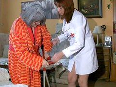 Caring nurse is washing stinky pussy of old granny Katerina