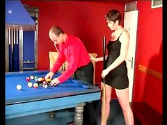 Naughty milf gets balled on the pool table