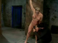 Tied up blonde with a stocking on her head gets humiliated