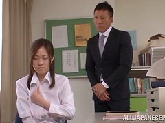 Touching Asian Teacher Sayuki Kanno's Big Tits and Hairy Pussy in Class