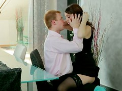 Incredible hot oral sex in the parlor with boss and her driver