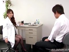Sexy Japanese Doctor in Foxy Lingerie Teasing a Patient's Cock