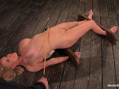 Krissy Lynn gets her pussy fingered to orgasm in a hot BDSM scene
